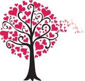De boomwind van de valentijnskaart Stock Afbeelding