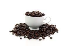 De Boon van Coffe in de Witte Kop Royalty-vrije Stock Afbeeldingen
