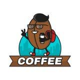 De boon van de Hipsterkoffie met koffiedocument kop het lopen Het moderne Ontwerp van het Embleem De vlakke illustratie van het l Stock Foto's