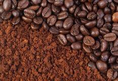 De boon van de koffie en grond royalty-vrije stock foto's