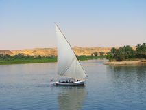 De boot die van Faluca in de rivier van Nijl vaart Stock Fotografie