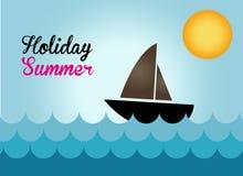 De boot op het overzees in de vakantiezomer, bootvector Royalty-vrije Stock Afbeeldingen