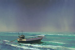 De boot op het overzees met grijze hemel op achtergrond royalty-vrije illustratie