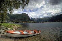 De boot van de fjord onder boom royalty-vrije stock fotografie