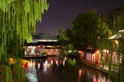 De boot van de Qinhuairivier in nachtmening Royalty-vrije Stock Fotografie