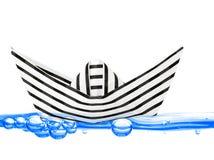 De boot van het document op water Stock Afbeelding