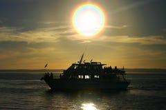 De boot van het silhouet Stock Afbeeldingen