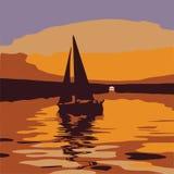 De Boot van het zeil bij Zonsondergang Vector Illustratie