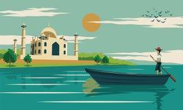 De boot van de mensenrij dichtbij door mahal Taj, symbool van liefde en beroemde landmar stock illustratie