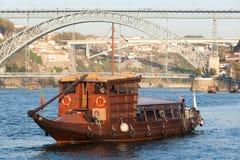 De boot van Rabelo voor de Porto wijn, douro Portugal Stock Fotografie
