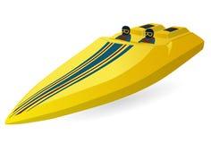 De boot van rassporten Luxe dure gele motorboot, luxemotorboot vector illustratie