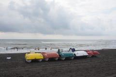 De bootcatamarans van het fotopedaal van verschillende bloemen op het bankoverzees royalty-vrije stock afbeeldingen