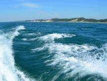 De bootkielzog van het water op het meer van Michigan Royalty-vrije Stock Foto