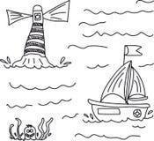 De bootzeilen aan overzees voorbij de vuurtoren, in het water wordt het bedreigd door een reuze zwart-witte octopus, royalty-vrije illustratie