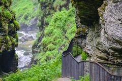 De Bordalsgjeletkloof, Noorwegen, Scandinavi?, Toerisme, deze plaats is dichtbij gesitueerd van Voss-stad royalty-vrije stock afbeeldingen