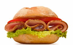 De borst kaiser broodje van Turkije - lage hoek Stock Foto's