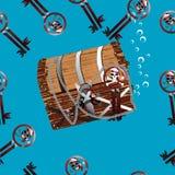 De borst onderwater naadloze illustratie van de piraat Vector Illustratie