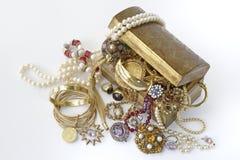 De borst van de schat met juwelen Stock Foto