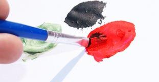 De borstel en de kleuren van de verf Royalty-vrije Stock Foto