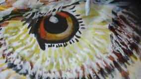 De borstel schildert het oog van de vogel stock videobeelden