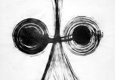 De borstel trekt flexibele lijnen in het centrum en twee cirkels royalty-vrije illustratie