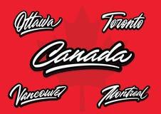 De borstel van Canada en van steden het vector van letters voorzien Stock Foto's