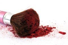 De borstel van de make-up en kosmetisch poeder Stock Afbeelding