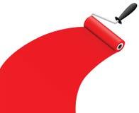 De borstel van de rol met rode verf Royalty-vrije Stock Foto's