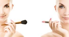 De borstel van de samenstelling en lipstik Stock Afbeelding