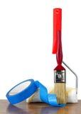 De Borstel van de verf, Rol en Blauwe Band Stock Afbeelding