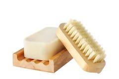 De Borstel van de zeep en van de Spijker stock fotografie