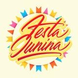 De borstel van Festajunina het vector van letters voorzien Stock Foto's