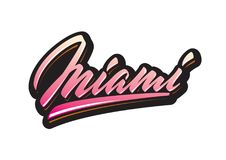 De borstel van Miami het van letters voorzien Stock Afbeelding