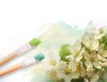 De borstels van de kunstenaar met een half geschilderd bloemencanvas Royalty-vrije Stock Fotografie