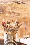 De borstels van de kunstenaarsverf Stock Afbeelding