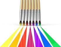 De borstels van de regenboog het schilderen Royalty-vrije Stock Foto