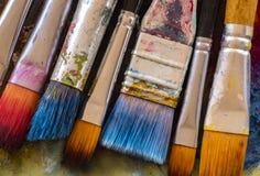 De borstels van de kunstenaarsverf royalty-vrije stock foto