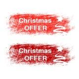 De borstelslag, etiketten met witte symbolen van Kerstboom, stickers voor Kerstmis biedt aan Royalty-vrije Stock Fotografie