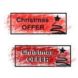 De borstelslag, etiketten met zwarte symbolen van Kerstboom, stickers voor Kerstmis biedt aan Stock Fotografie