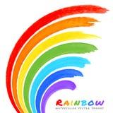 De Borstelvlekken van de regenboogwaterverf stock illustratie