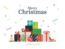 De bos en Kerstmisballen van giftdozen, suikergoed royalty-vrije illustratie