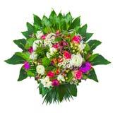 De bos van de zomerbloemen met decoratieve geïsoleerde bladeren, royalty-vrije stock foto