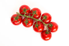 De bos van verse tomaten met water daalt Geïsoleerdj op witte achtergrond Royalty-vrije Stock Foto's