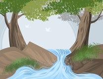 De bosachtergrond van de landschaps vectoraard Stock Fotografie