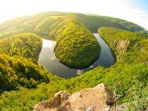 De bosmeander van de Vltavarivier in Tsjechische Republiek Stock Foto's
