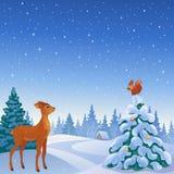 De bosscène van de winter Stock Afbeeldingen