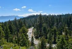 De Bossen op bovenkant bij zuidenmeer tahoe CA Stock Afbeelding