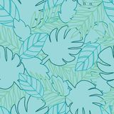 De botanische wildernis verlaat patroon, tropische naadloos, bloem voor manierstof en alle drukken op zoete roze achtergrond in stock illustratie