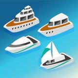De boten isometrische pictogrammen van schepenjachten geplaatst vectorillustratie Royalty-vrije Stock Afbeelding