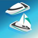 De boten isometrische pictogrammen van schepenjachten geplaatst vectorillustratie Stock Fotografie